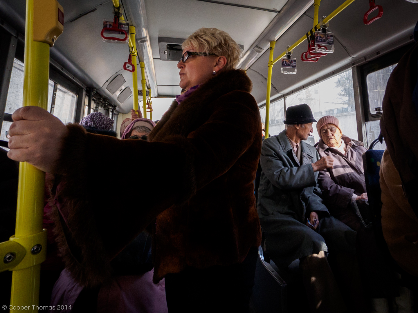 Tram passengers. The vast majority of passengers seem to be over 50 years old.