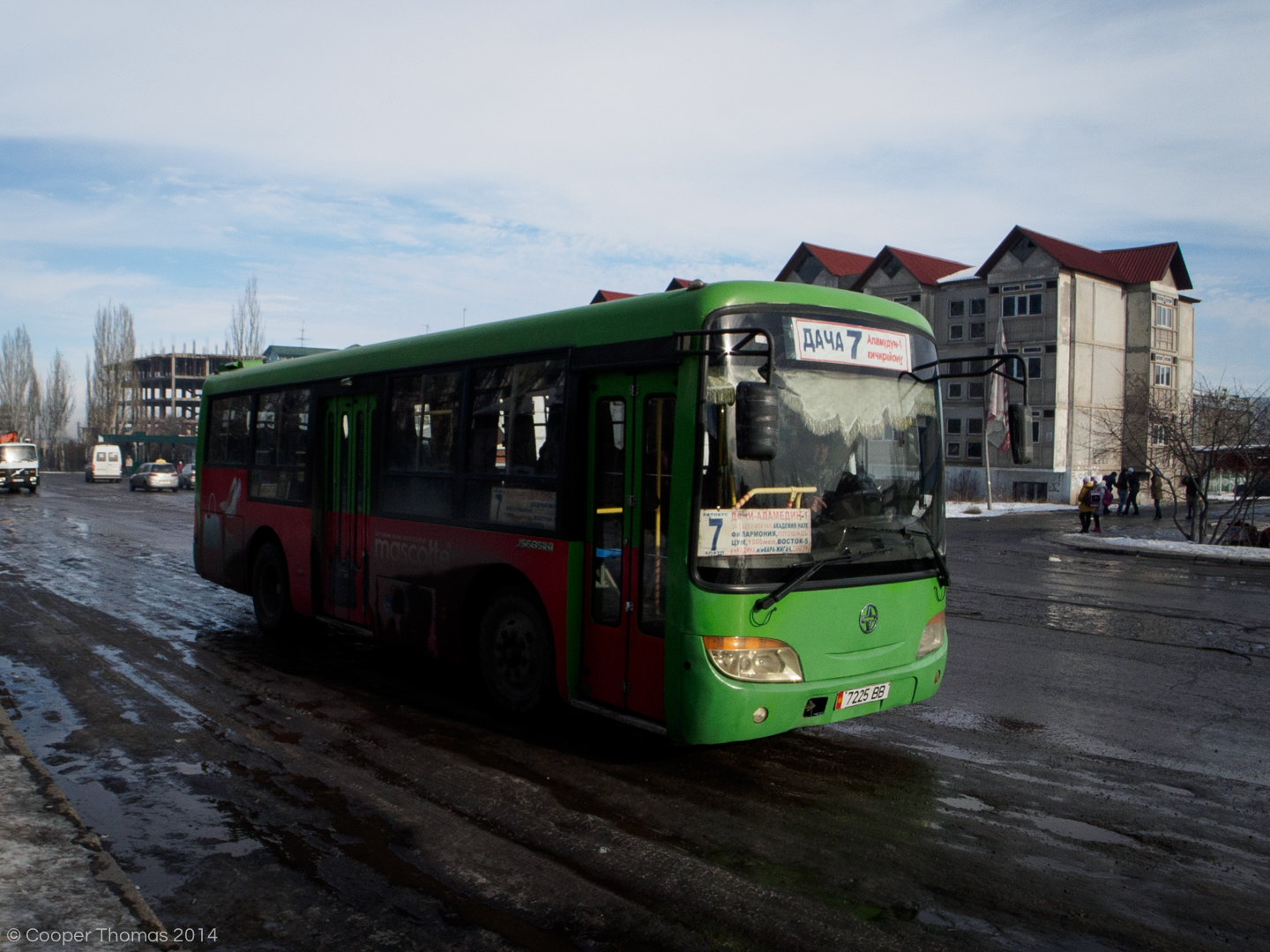 A bus, on the outskirts of Bishkek