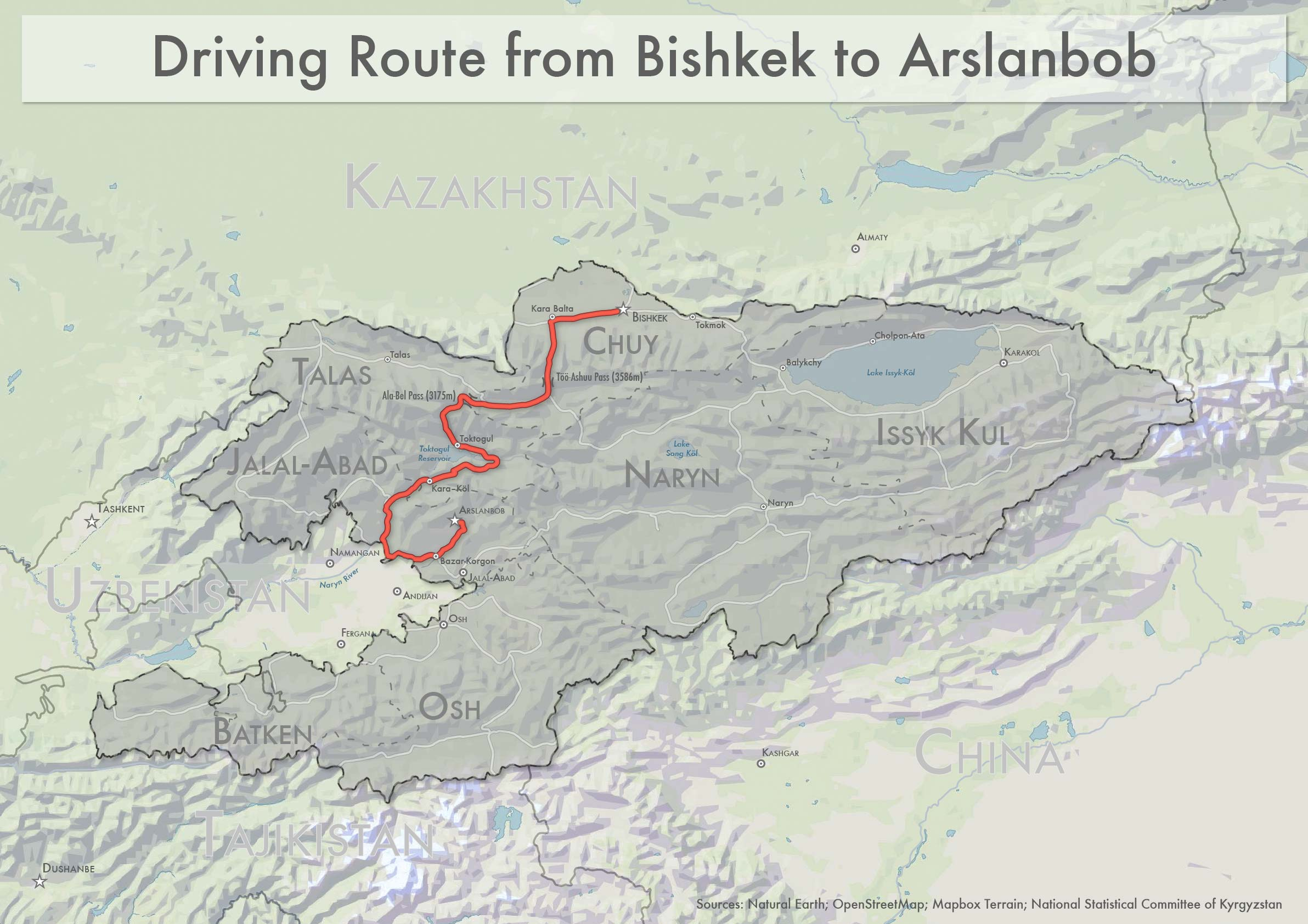 A map of Kyrgyzstan showing the 600-kilometer route from Bishkek to Arslanbob. Click to view a larger version of the map in a new tab.