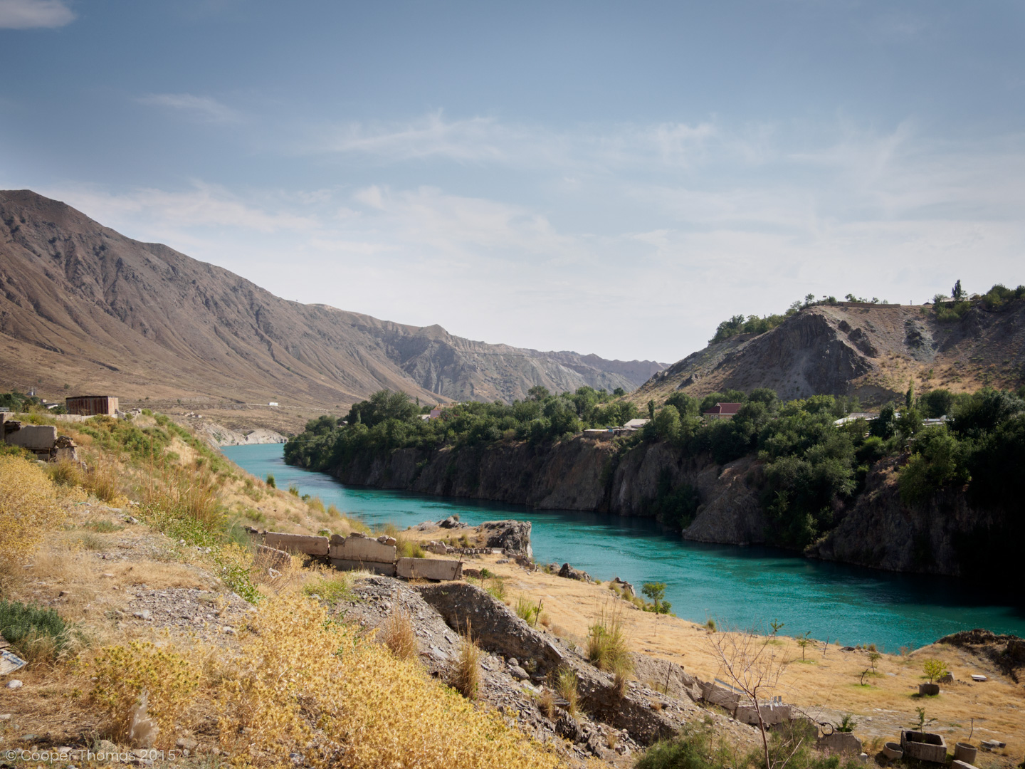 Driving along the Naryn River