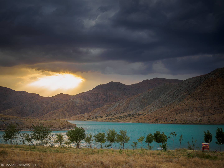 A stormy sunset over Toktogul Reservoir (2014)