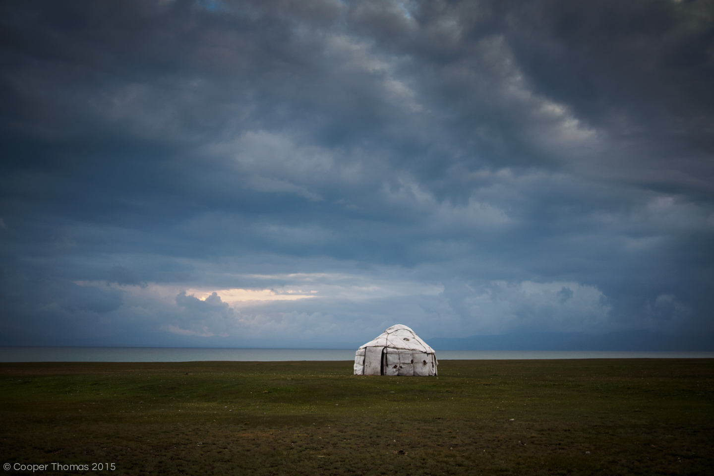 A lone yurt on the shore of Song Köl.