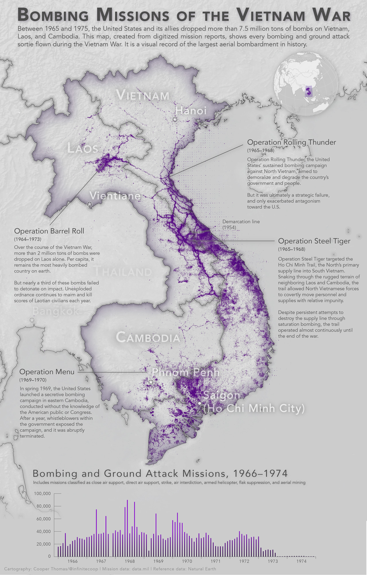 Bombing missions of the Vietnam War (QGIS version)